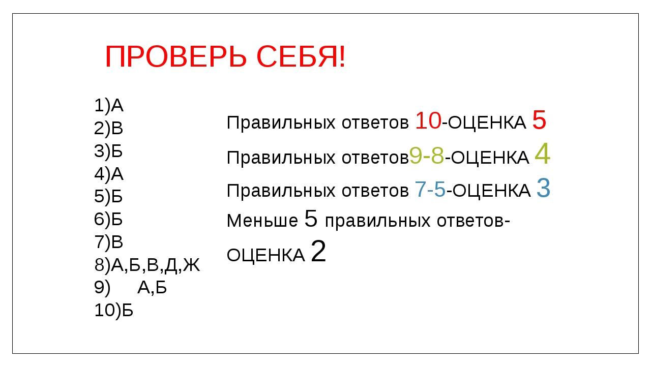 ПРОВЕРЬ СЕБЯ! 1)А 2)В 3)Б 4)А 5)Б 6)Б 7)В 8)А,Б,В,Д,Ж 9) А,Б 10)Б Правильных...