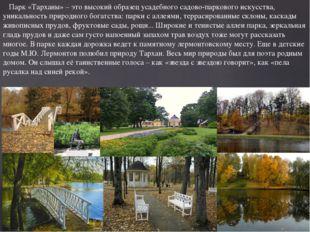 Парк «Тарханы» – это высокий образец усадебного садово-паркового искусства,