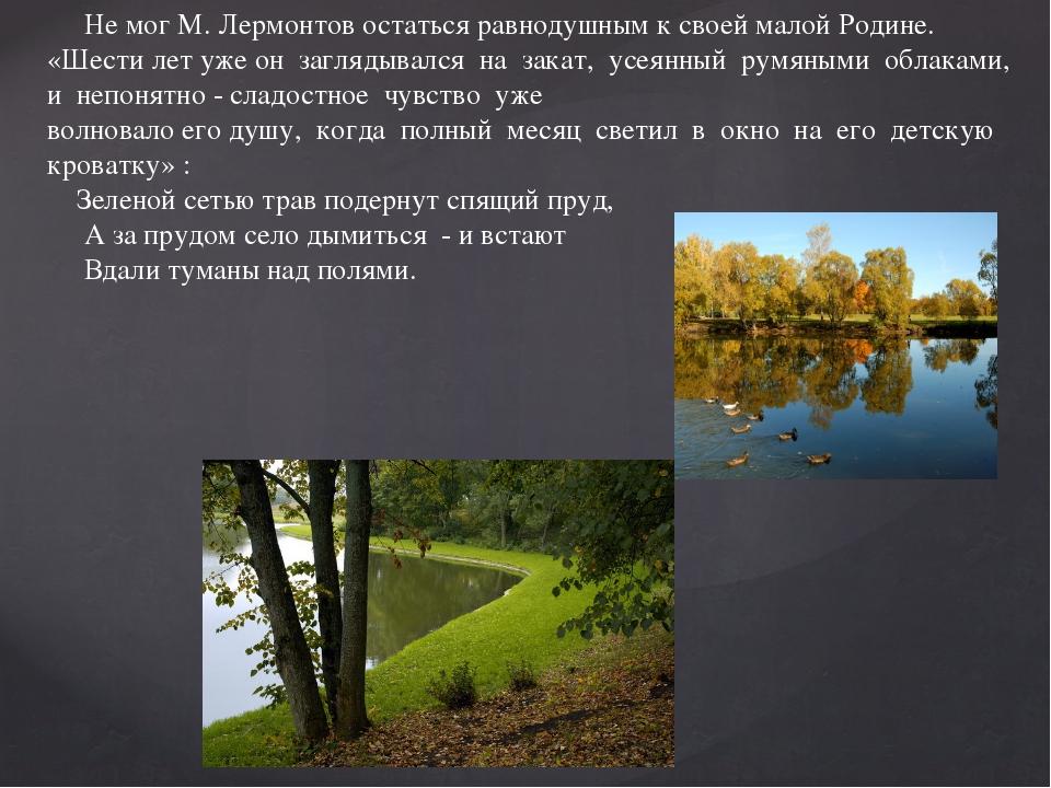 Не мог М. Лермонтов остаться равнодушным к своей малой Родине. «Шести лет уж...