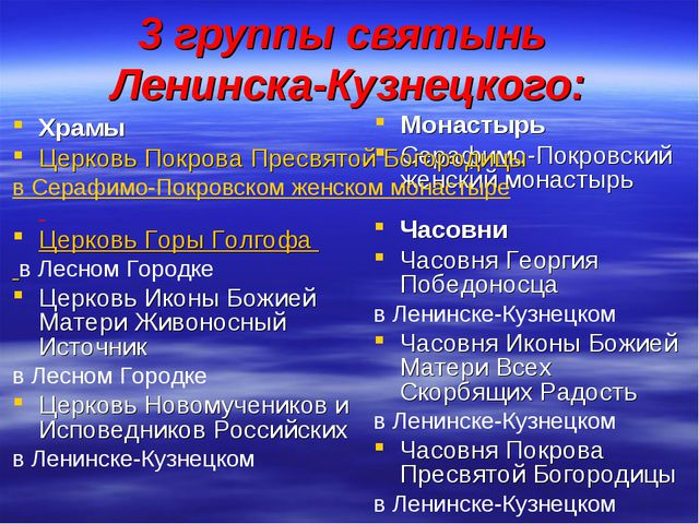 3 группы святынь Ленинска-Кузнецкого: Монастырь Серафимо-Покровский женский...