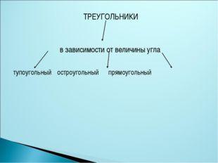 ТРЕУГОЛЬНИКИ в зависимости от величины угла тупоугольный остроугольный прямо
