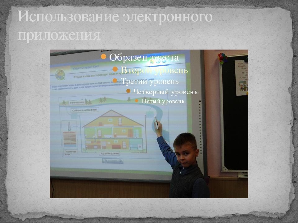 Использование электронного приложения