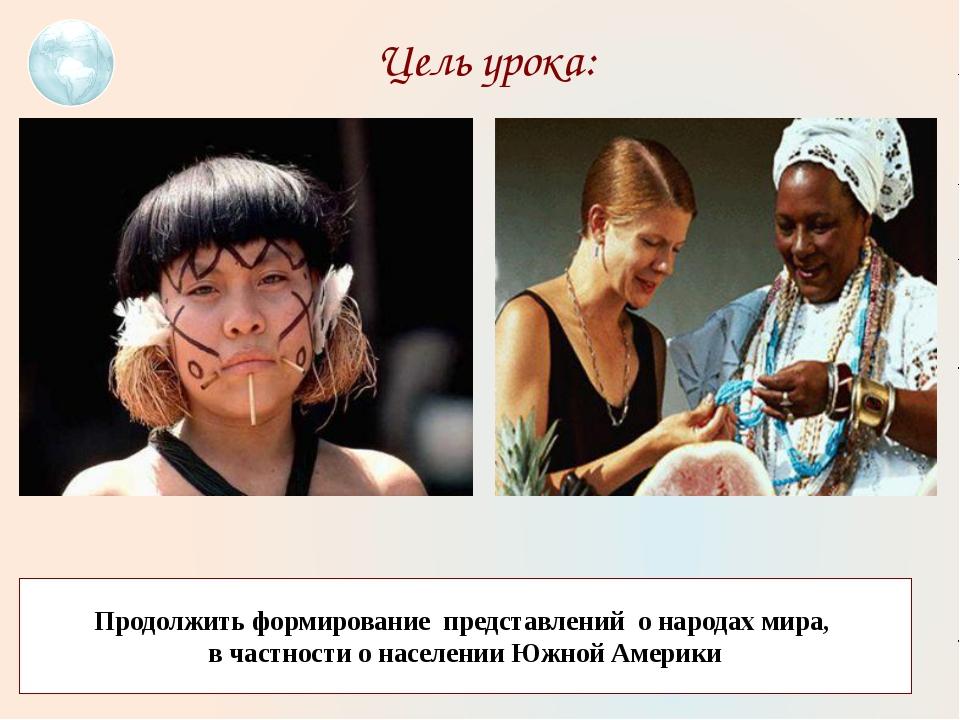 Цель урока: Продолжить формирование представлений о народах мира, в частности...