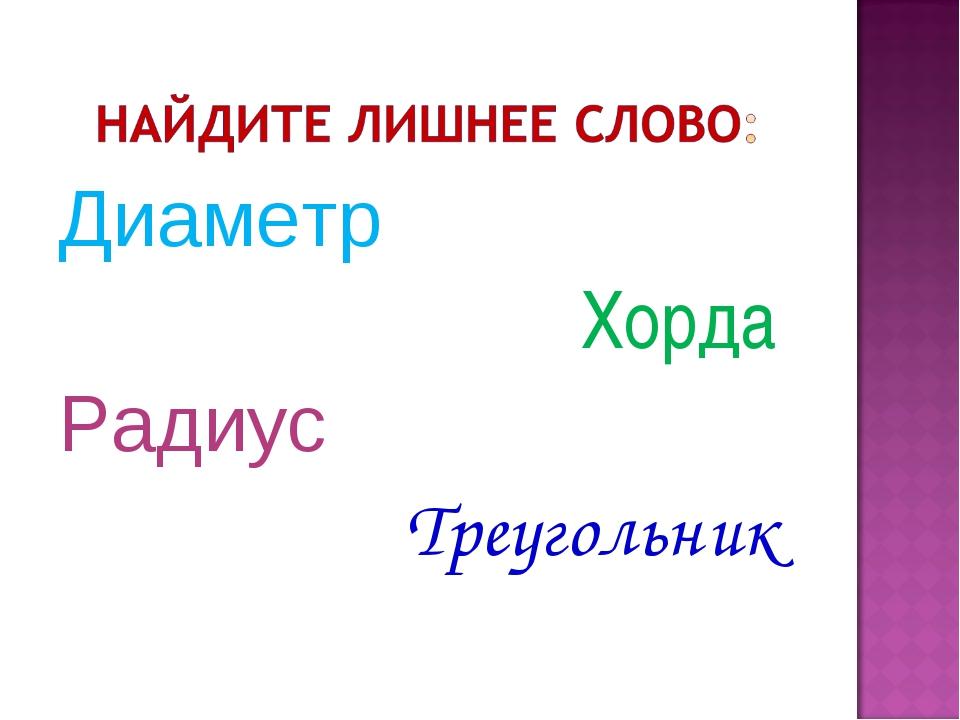 Диаметр Хорда Радиус Треугольник