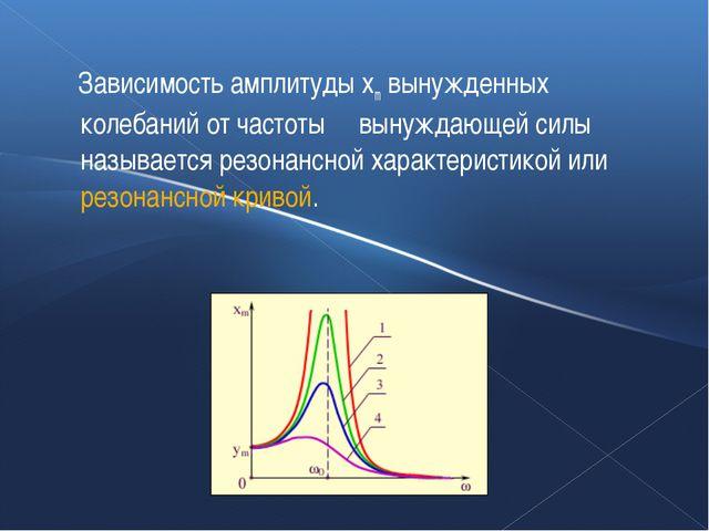 Зависимость амплитуды xm вынужденных колебаний от частоты ω вынуждающей силы...