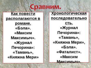 Хронологическая последовательность. «Журнал Печорина»: «Тамань», «Княжна Мери