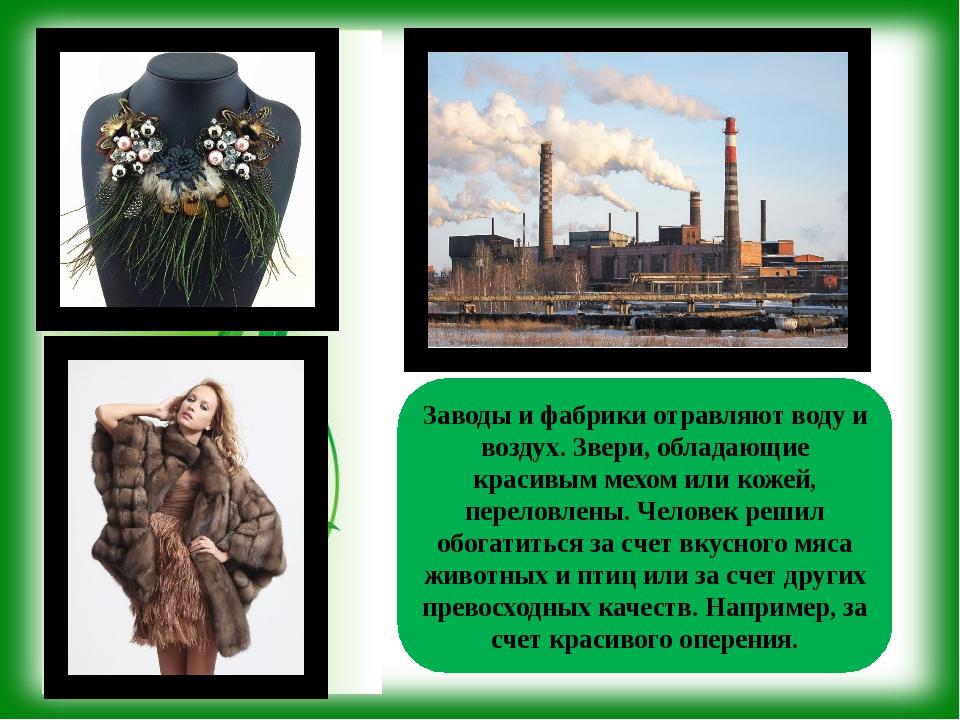 Заводы и фабрики отравляют воду и воздух. Звери, обладающие красивым мехом ил...