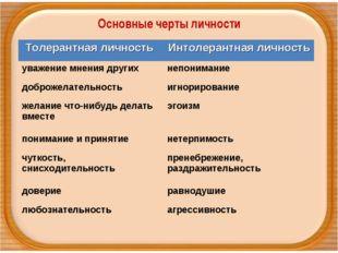 Основные черты личности Толерантная личность Интолерантная личность уважение