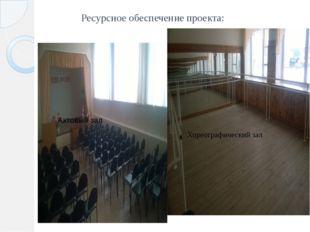 Ресурсное обеспечение проекта: Хореографический зал Актовый зал Хореографичес