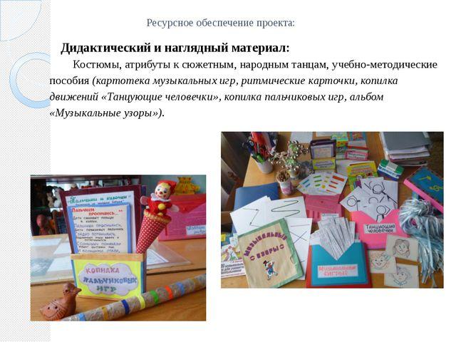 Ресурсное обеспечение проекта: Дидактический и наглядный материал: Костюмы, а...