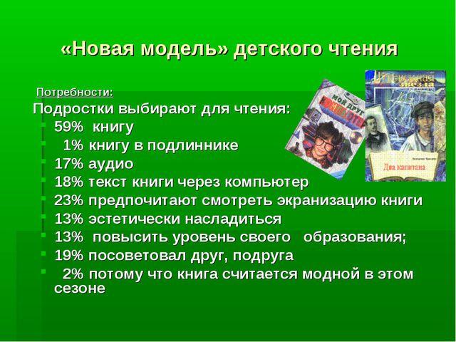 «Новая модель» детского чтения Потребности: Подростки выбирают для чтения: 59...