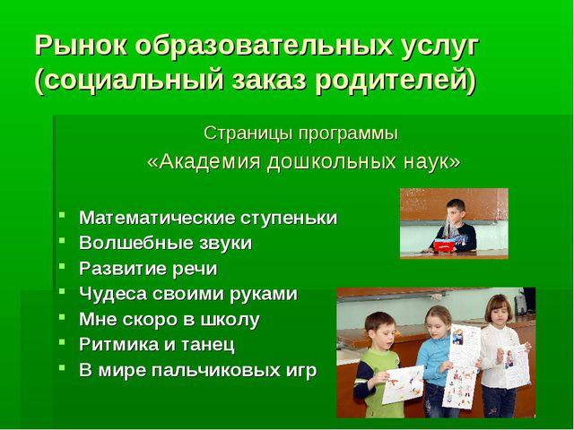 Рынок образовательных услуг (социальный заказ родителей) Страницы программы «...