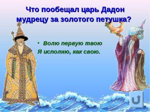 Что пообещал царь Дадон мудрецу за золотого петушка? Волю первую твою Я испол