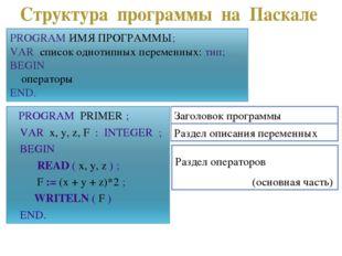 Заголовок программы Раздел описания переменных Раздел операторов (основная ча