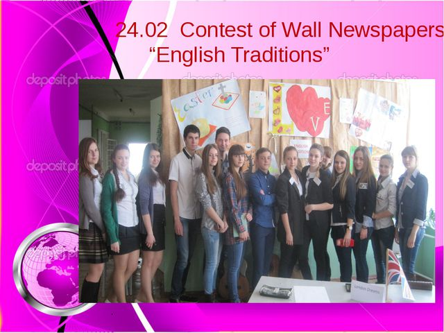 "24.02 Contest of Wall Newspapers ""English Traditions"""