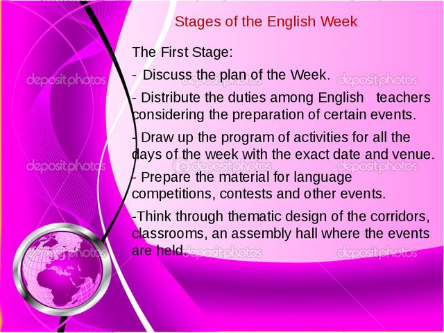 Stages of the English Week The First Stage: Discuss the plan of the Week. -...