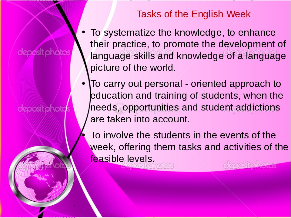 Tasks of the English Week To systematize the knowledge, to enhance their prac...