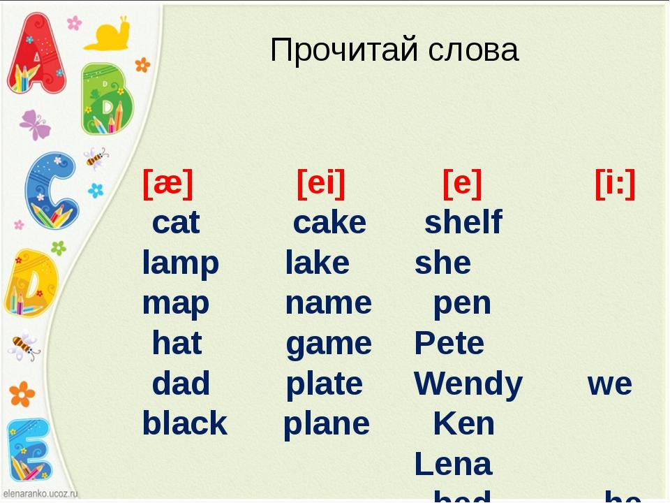 [æ] [ei] cat cake lamp lake map name hat game dad plate black plane Прочитай...