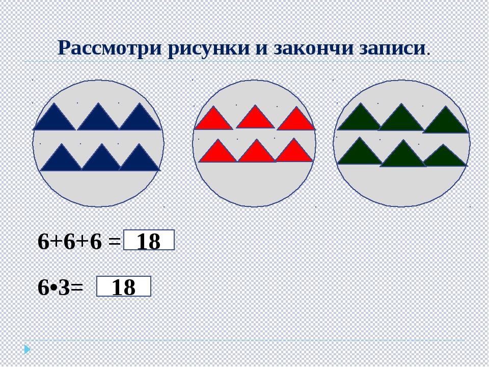 Рассмотри рисунки и закончи записи. 6+6+6 = 18 6•3= 18