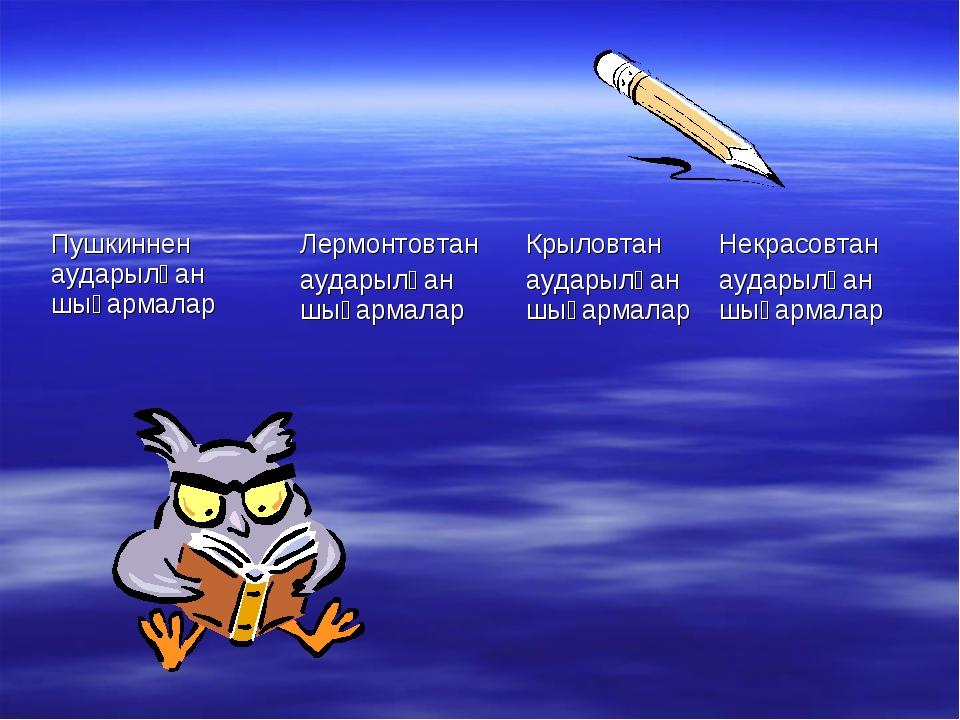 Пушкиннен аударылған шығармаларЛермонтовтан аударылған шығармалар Крыловтан...