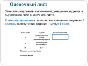 Оценочный лист Занесите результаты выполнения домашнего задания в выделенное