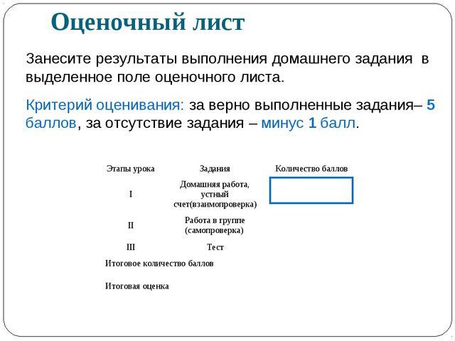 Оценочный лист Занесите результаты выполнения домашнего задания в выделенное...