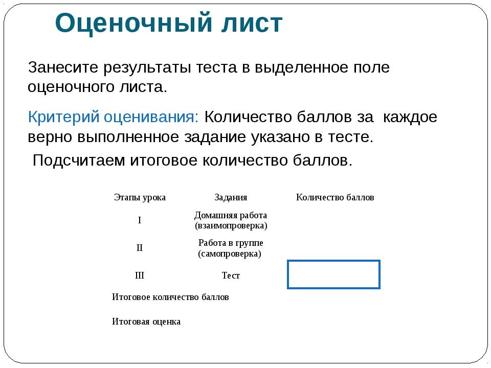 Оценочный лист Занесите результаты теста в выделенное поле оценочного листа....
