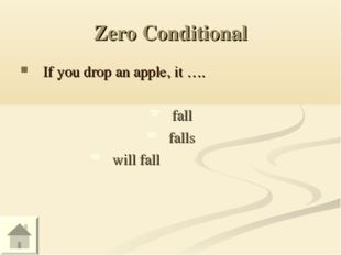 Zero Conditional If you drop an apple, it …. fall falls will fall