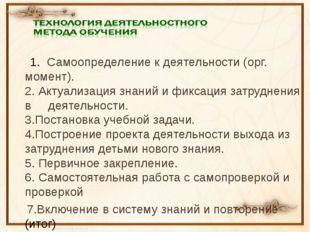 1. Самоопределение к деятельности (орг. момент). 2. Актуализация знаний и фи