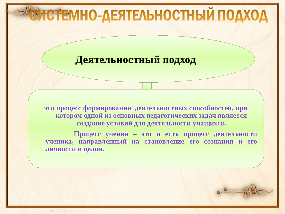 Деятельностный подход это процесс формирования деятельностных способностей, п...