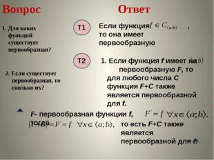 Вопрос 1. Для каких функций существует первообразная? Ответ 2. Если существуе