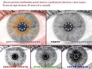 Для получения индивидуальной записи о радужной оболочке глаза черно-белая кам