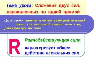 Тема урока: Сложение двух сил, направленных по одной прямой Цель урока: ввест