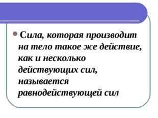 Cила, которая производит на тело такое же действие, как и несколько действующ
