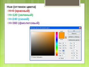 Hue (оттенок цвета) H=0 (красный) H=120 (зеленый) H=240 (синий) H=360 (фиолет