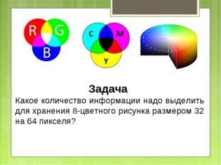 Задача Какое количество информации надо выделить для хранения 8-цветного рису