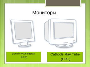 Мониторы 	 Liquid crystal display (LCD) Cathode Ray Tube (CRT)