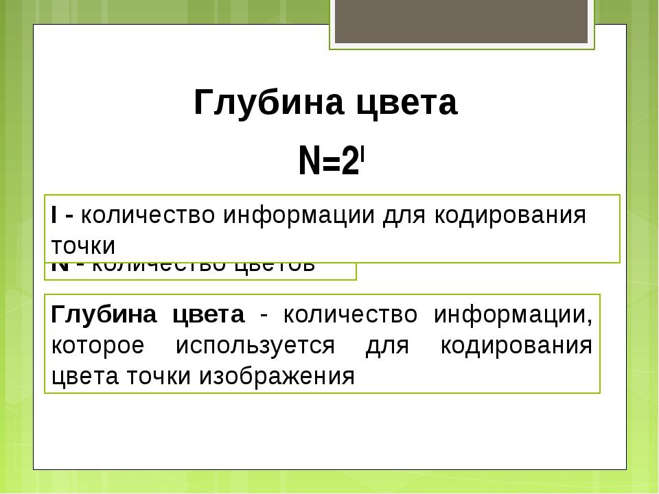 Глубина цвета N - количество цветов N=2I I - количество информации для кодиро...