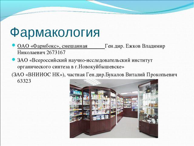 Фармакология ОАО «Фармбокс», смешанная Ген.дир. Ежков Владимир Николаевич 267...