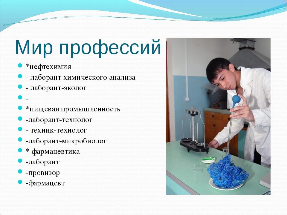 Мир профессий *нефтехимия - лаборант химического анализа - лаборант-эколог -...