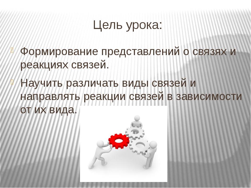 Цель урока: Формирование представлений о связях и реакциях связей. Научить ра...