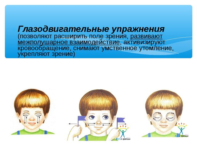 Глазодвигательные упражнения (позволяют расширить поле зрения, развивают межп...