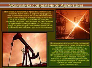 Из полезных ископаемых Аргентины наибольшее значение имеет добыча нефти и при