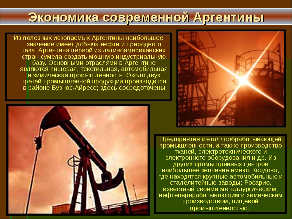 Из полезных ископаемых Аргентины наибольшее значение имеет добыча нефти и при...