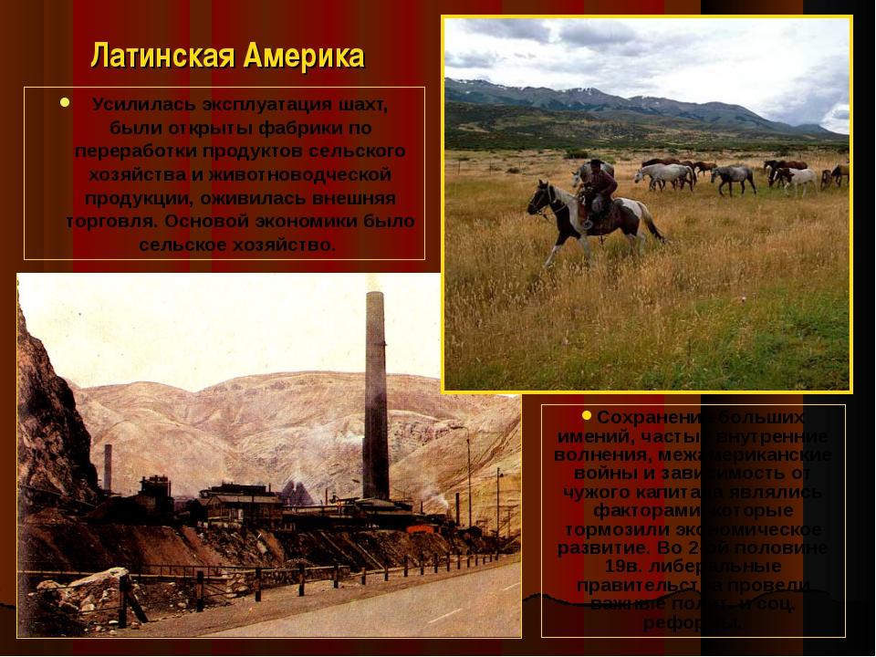 Латинская Америка Усилилась эксплуатация шахт, были открыты фабрики по перера...