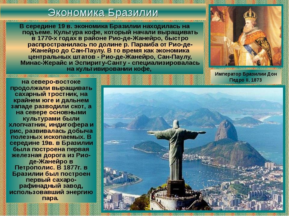 Экономика Бразилии В середине 19 в. экономика Бразилии находилась на подъеме....