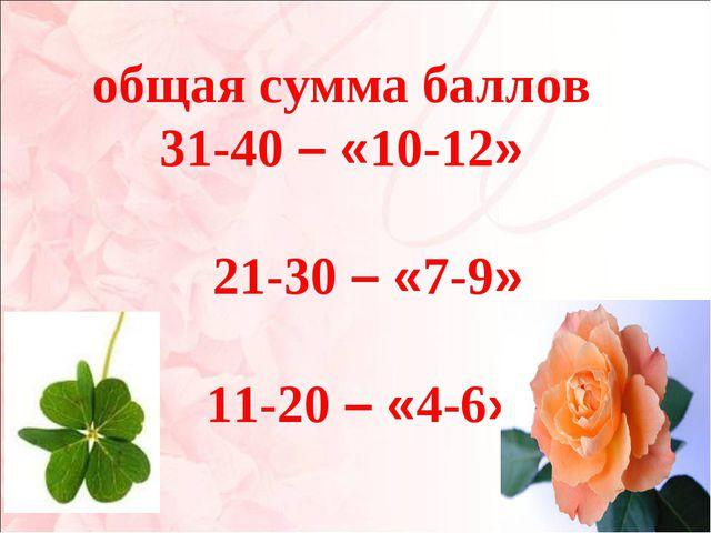 общая сумма баллов 31-40 – «10-12» 21-30 – «7-9» 11-20 – «4-6».