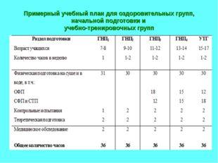 Примерный учебный план для оздоровительных групп, начальной подготовки и учеб