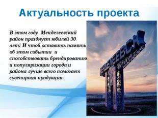 Актуальность проекта В этом году Менделеевский район празднует юбилей 30 лет!