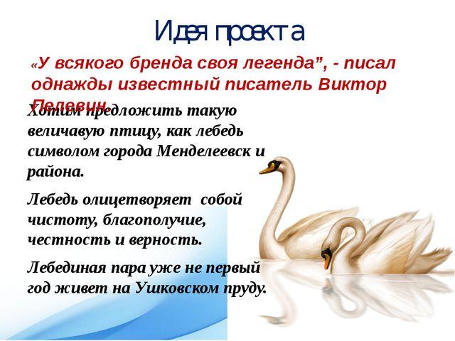 Идея проекта Хотим предложить такую величавую птицу, как лебедь символом горо...